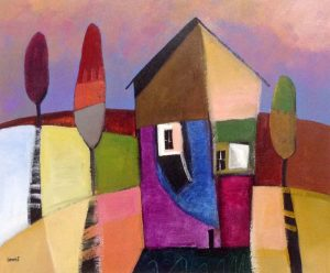 Downe Burns Painting of Modern Whimsical Abstract Pink Purple Architecture Houses/Homes in Neighborhood with Trees