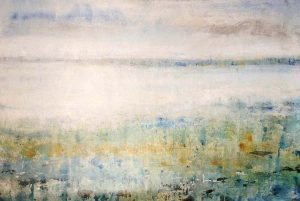 Timothy O'Toole Painting Abstract Contemporary Blue Green Water Land Soft Neutral Horizon