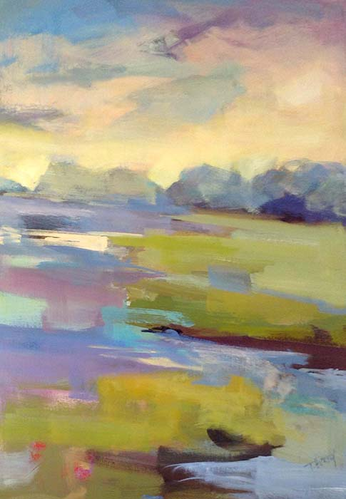 Trish Hurley Painting Soft Impressionist Sunset with Clouds and Green Landscape Vertical