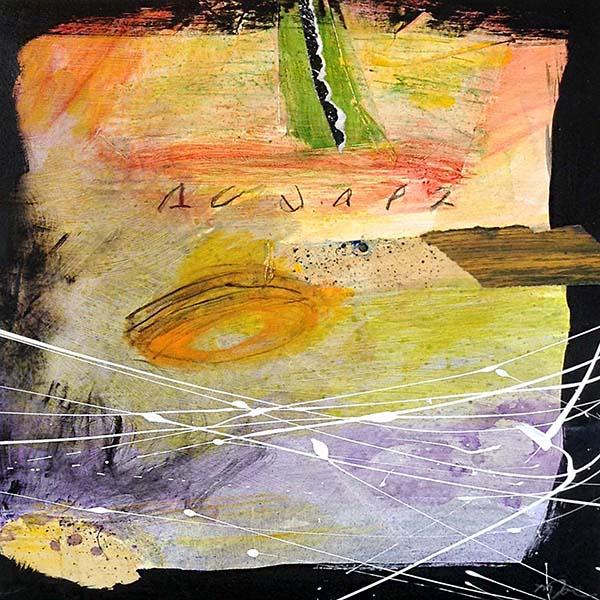 Mamie Joe Rayburn Painting of Yellow Green Purple Black Cosmic Abstract Shapes Funky