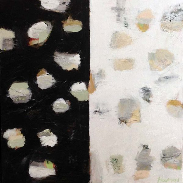 Ellen Hermanos Painting - Black and White Dots Beige Green Teal Mint