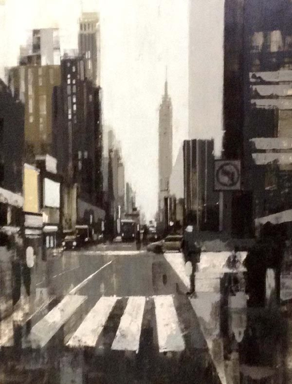 Kevin Kusiolek Painting Black and White Cityscape Street Scene New York City NYC