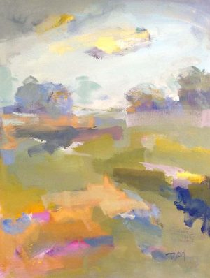 Trish Hurley Painting of Loose Abstract Landscape With Clouds and Green Grass