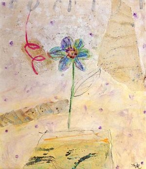 Mamie Joe Rayburn Painting Blue Abstract Flower on Beige with Red and Green Whimsical