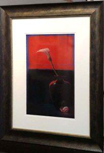 Nicora Gangi pastel painting of flower on red background