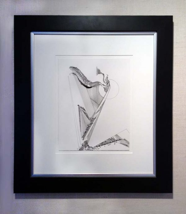 Gary Smith framed pen and ink drawing Harp