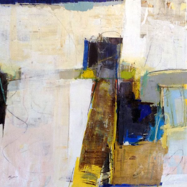 Helen Zarin Painting - Contemporary Abstract Urban Abstract in Neutral Beige Blue Brown Gray