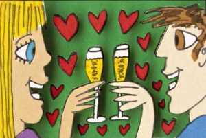 James Rizzi - Loving You - Romantic Lovers Smiling With Champagne Glasses