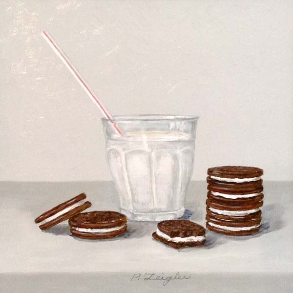 Patti Zeigler Painting Contemporary Still Life of Oreo Cookies and Milk with Straw Snack Kitchen Food Kids