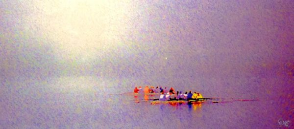 Daniel Coffey - Boston Morning on the Charles - Crew Rowing Boats on River Abstract