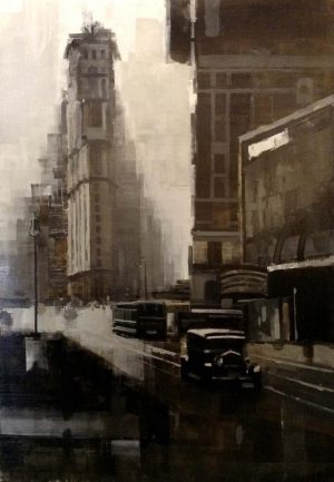Kevin Kusiolek Painting Old Fashioned Street Scene NYC New York Sepia