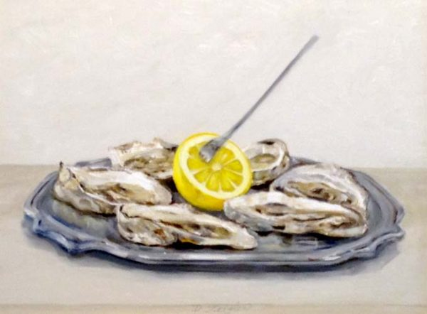 Patti Zeigler Painting Contemporary Oil Painting of Oysters on Silver Platter with Lemon Food