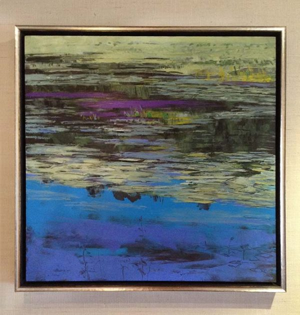Lynne Adams framed painting of pond in green, blue, and purple