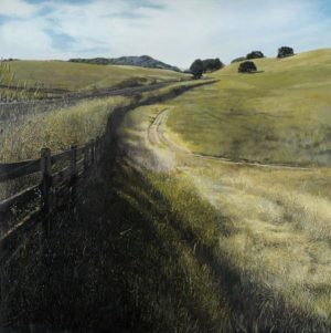 Robert Bolster Painting Traditional Green Landscape With Grass and Field Road and Fence