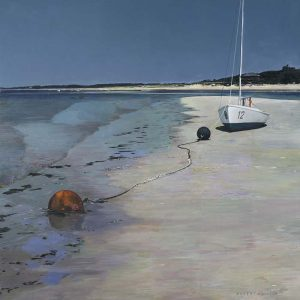 Robert Bolster Painting Traditional Realist White Sail Boat on Sand Beach Blue Sky