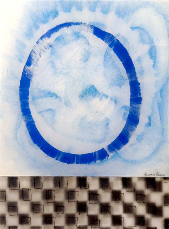 Martin Quen Painting Blue Circle Black White Checkers Abstract Acrylic