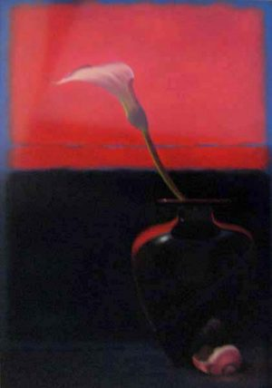 Nicora Gangi - Single Lily on Red Flower Still Life with Shell Black
