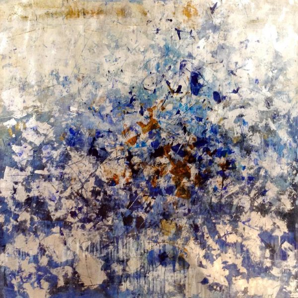 Jodi Maas Painting Sparks of Flowers or Fireworks in Blue Gray Ochre