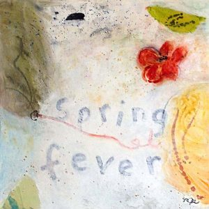 Mamie Joe Rayburn Painting Abstract Flower on Beige with Spring Fever Red and Green Whimsical