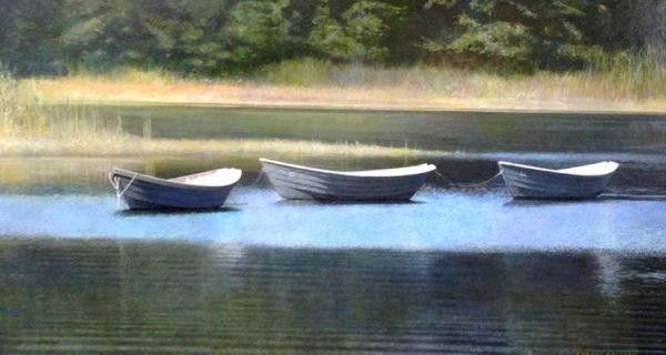 Robert Bolster Painting of Three Boats in water along shoreline