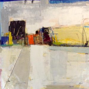 Helen Zarin Painting: abstract urban landscape with blue gold gray and red