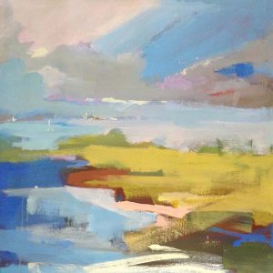 Trish Hurley Painting of Impressionist Contemporary Landscape in Green Blue Ocean View
