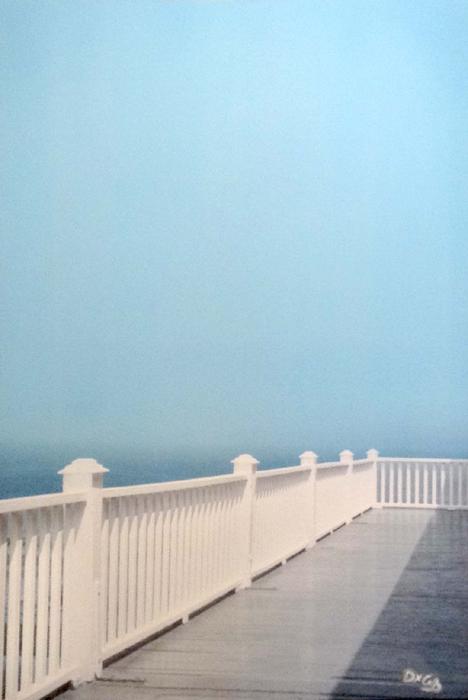 Daniel Coffey - White Fence Summer White Porch View Ocean Blue Sky