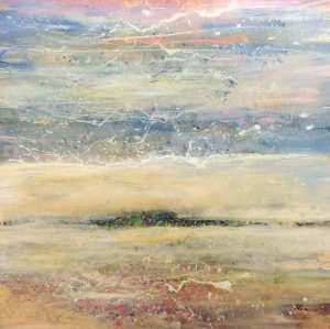 Helen Zarin Painting Abstract Seascape Contemporary Horizon Modern Pastel Pink Yellow Soft Splatter