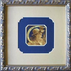 Cigar Box Label Floating on Blue Mat, Specialty Cut Top Mat, Silver Ornate Frame