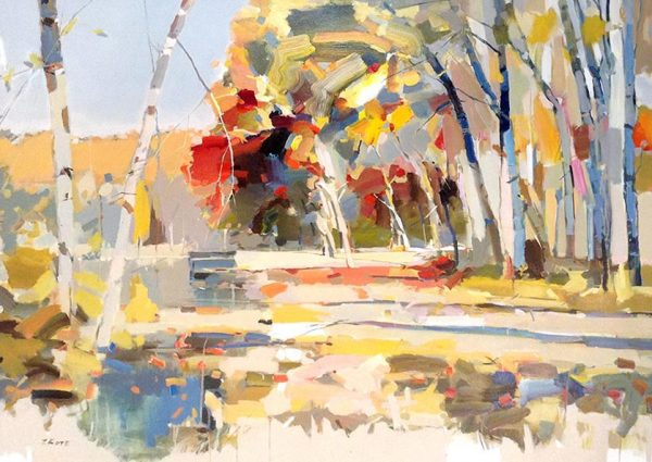 Josef Kote Painting - Abstract Contemporary Landscape with Beige and Neutral Forest Trees