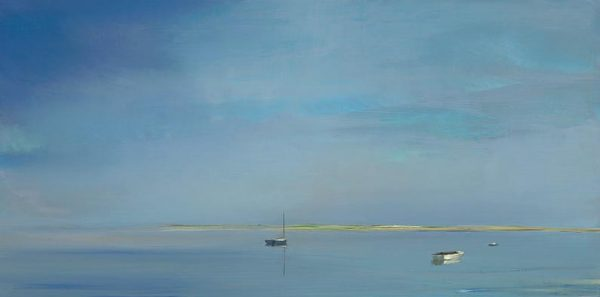 Ann Packard - Being ethereal contemporary giclee print of two boats on the water off Cape Cod