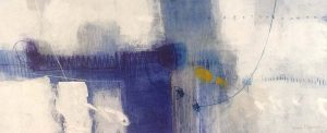 Ursula Brenner Painting - Royal Blue Whimsical Abstract White Navy