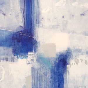 Ursula Brenner Painting - Aqua Royal Blue Whimsical Abstract White Navy