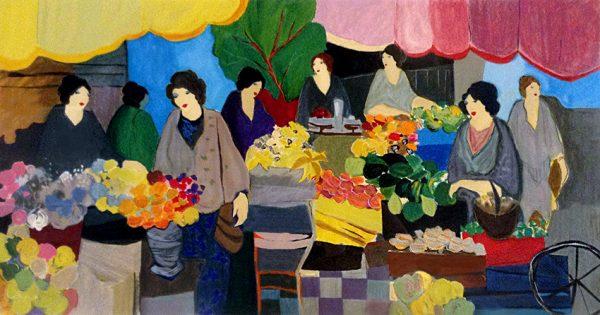Itzchak Tarkay - The Flower Market - Contemporary City Scene with Women Florist