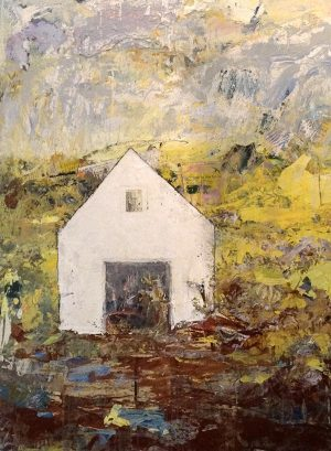 Brenda Cirioni Painting Contemporary Mixed Media Barn with Brown Blue and Green Collage