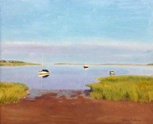 Hilary Baldwin Painting - Boats in Bay Ocean Port Marsh Summer Cape Cod
