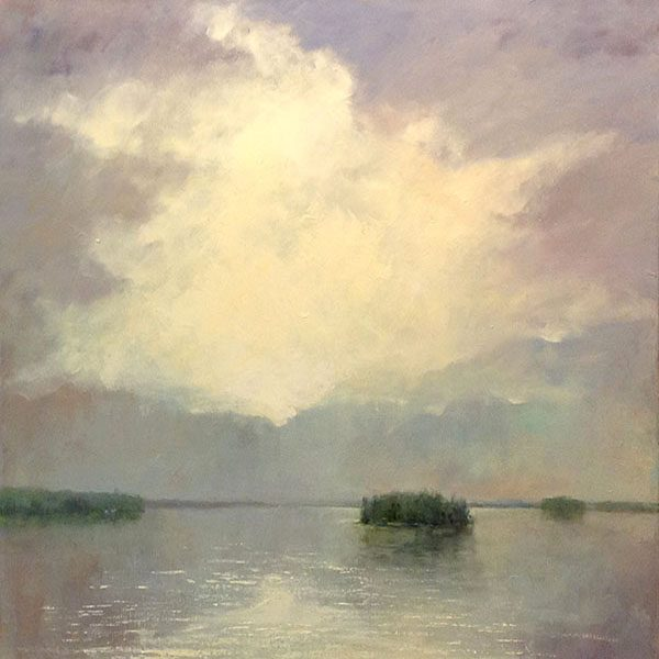 Mary Nolan Painting of Coastal Landscape Sunset Beach Grass Clouds Sky