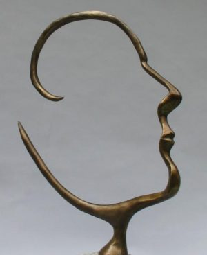 Michael Alfano - Open Mind Surreal Bronze Head Face Man Figure Bust