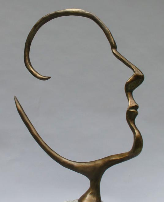Michael Alfano - Open Mind Surreal Bronze Head Face Man Figure Bust