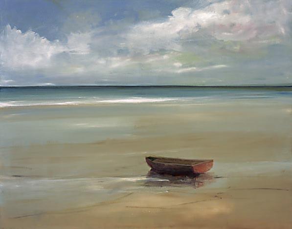 Ann Packard - On the Beach - One Red Row Boat on Beach Cape Cod Seashore Beach Summer