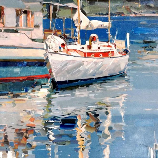 Josef Kote Painting Abstract Contemporary Blue White Sailboat