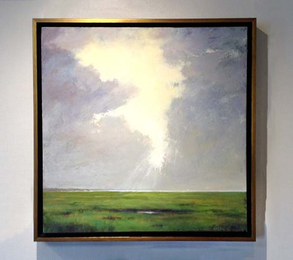 Mary Nolan framed painting of clouds parting above field
