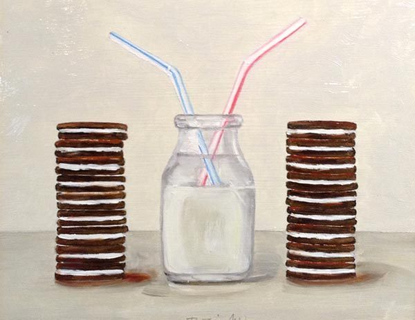Patti Zeigler Painting - Milk Cookies Straws After School Snack Still Life Whimsical