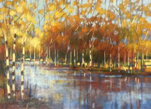 Robert Chapman Painting - River Landscape Birch Tree Forest Summer Fall Foliage