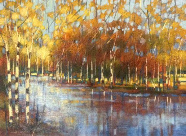 Robert Chapman Painting - River Landscape Birch Tree Forest Summer Fall Foliage