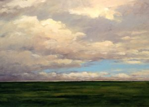 Mary Nolan Painting of Coastal Landscape Sunset Beach Grass Clouds Sky