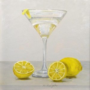 Patti Zeigler Painting - Contemporary Still Life of Martini with Lemon Twist for Kitchen Bar