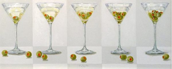 Patti Zeigler Painting - Contemporary Still Life of Martini Glasses Olives Bar Alcohol Party Cocktail