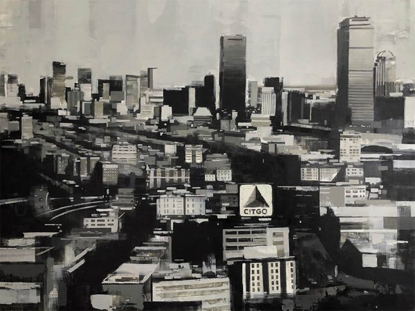 Kevin Kusiolek Painting - Boston City Architecture Skyline Urban Skyscrapers