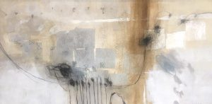 Ursula Brenner Painting - Whimsical Neutral Beige Gray Brown Black Abstract